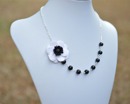Leah Asymmetrical Necklace in Black white Anemone with Black Beads. FREE EARRINGS
