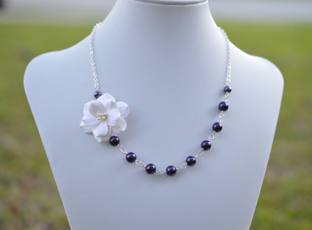 Brenda Asymmetrical Necklace in White Garden Rose with Deep Purple Pearls. Free Earrings.