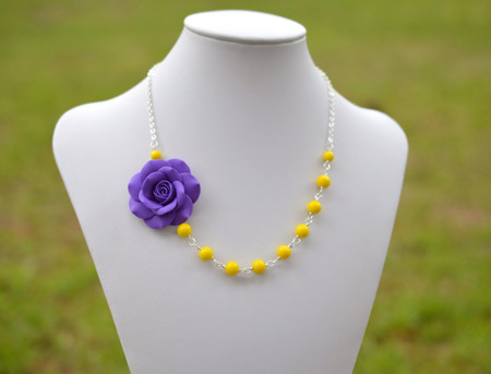 Alysson Asymmetrical Necklace in Amethyst Purple Rose with Yellow Beads. Free Earrings.