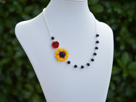 Jayden Double Flowers Asymmetrical Necklace in Red Rose and Sunflower. FREE EARRINGS