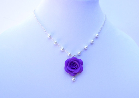 Hannah Necklace in Amethyst Purple Rose and Pearls Centered Style.