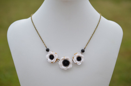 Black and White Anemone Statement Necklace