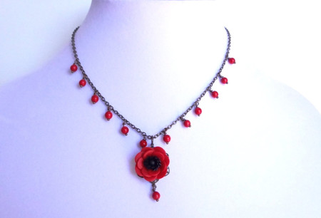 Clara Center Necklace in Red Anemone/Poppy and Red Beads