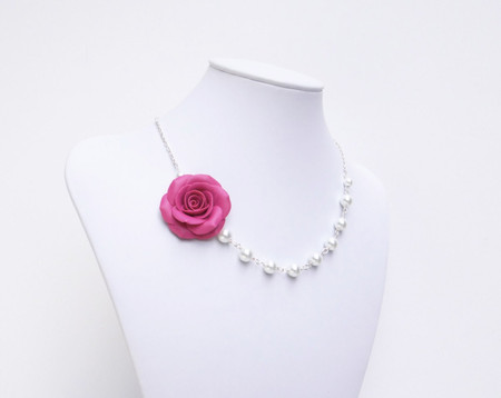 Alysson Asymmetrical Necklace in Fruit Pink Punch Rose. Free Pearls Earrings.