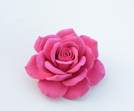 Caroline Hair Clip in Hot Pink Rose. LARGE