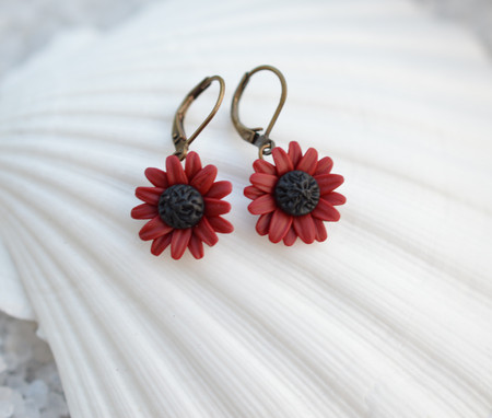 Red Garnet Sunflower Simple Drop Earrings