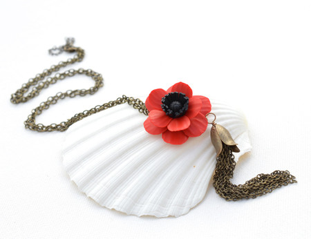 Long Tassel Necklace in Red Anemone/Red Poppy