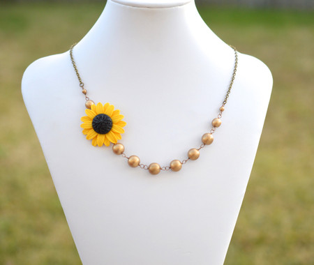 Kayla Asymmetrical Necklace in Golden Yellow Sunflower with Antique Gold Beads FREE EARRINGS