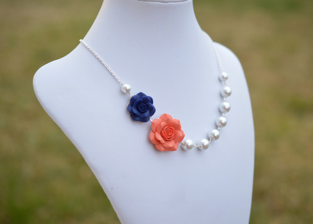 Celine Double Flowers Asymmtrical Necklace in Coral and Navy Blue Rose. FREE EARRINGS