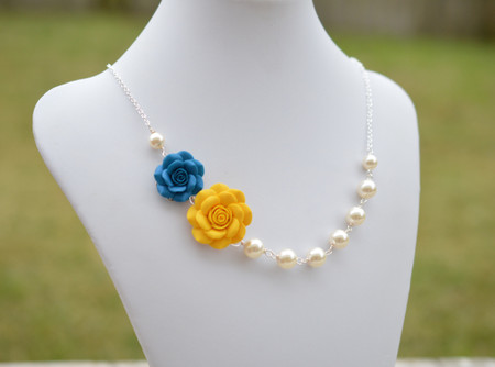 Celine Double Flowers Asymmetrical Necklace in Yellow and Peacock Blue Rose. FREE EARRINGS