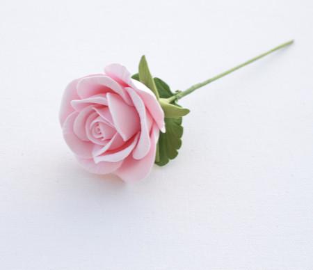 Light Pink Rose with Leaves Stem