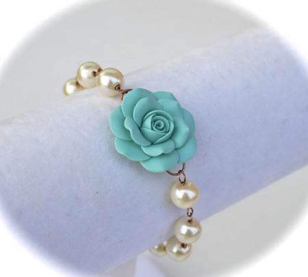 SALE Aaliyah Link Bracelt in Dusty Mint Rose