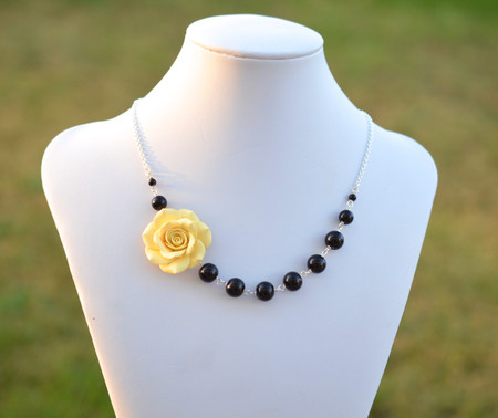 Jenna Asymmetrical Necklace in Pale Yellow Rose with Black Beads. FREE EARRINGS