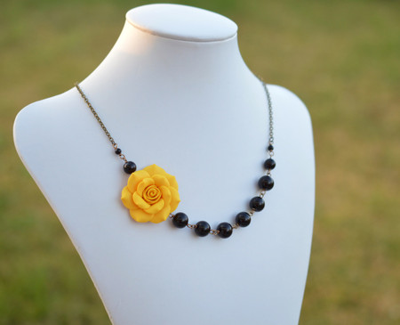 Jenna Asymmetrical Necklace in Golden Yellow Rose with Black Beads. FREE EARRINGS