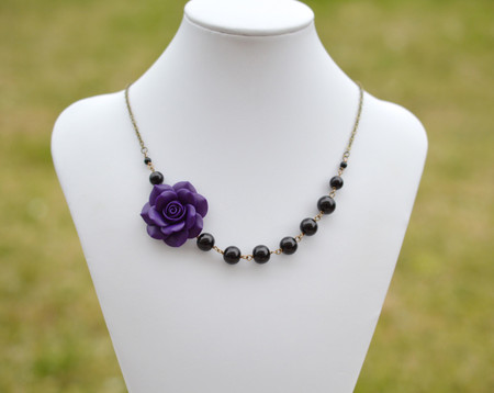 Jenna Asymmetrical Necklace in Deep Purple Rose with Black Beads. FREE EARRINGS