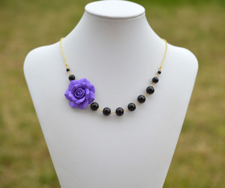 Jenna Asymmetrical Necklace in Amethyst Purple Rose with Black Beads. FREE EARRINGS