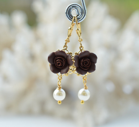 Tamara Statement Earrings in Roasted Coffee (Dark Brown) Rose