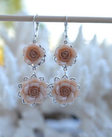 Mardy Double Roses Statement Earrings in Nude/Beige