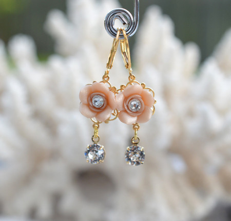Annamarie Rose Statement Earrings in Nude/Beige Rose with Crystals