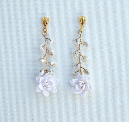 White Succulent Vine Earrings.