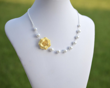 Alice  Asymmetrical Necklace in Pale Yellow Rose. FREE EARRINGS