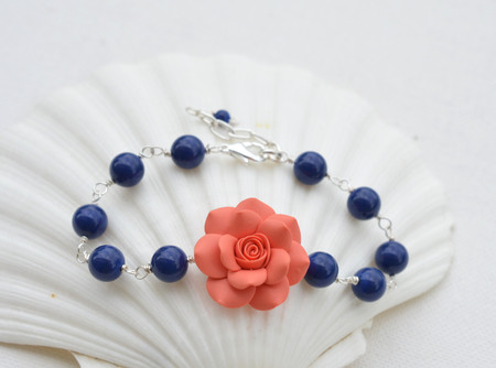 Lauren Link Bracelet in Coral Orange Rose and Dark Blue Pearls