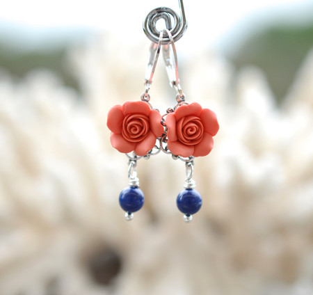 Tamara Statement Earrings in Coral Rose and Dark Blue Pearls