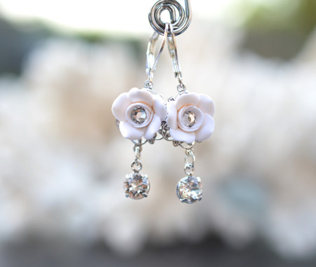 Annamarie Rose Statement Earrings in White Rose with Crystals