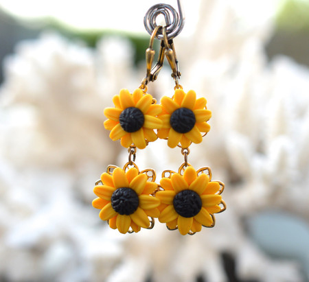 Andalusia Double Flower Statement Earrings in Golden Yellow Sunflower.