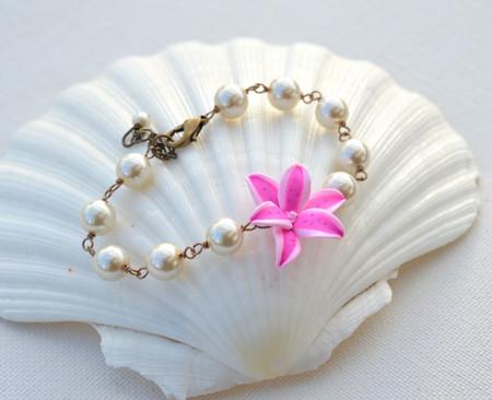 Andrea Link Bracelet in Pink Stargazer Lily