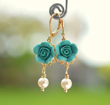 Tamara Statement Earrings in Mermaid Teal Green  Rose