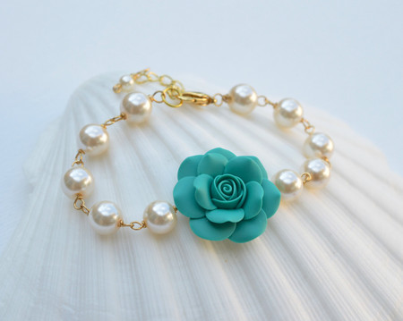 Aaliyah Link Bracelet in Mermaid Teal Green Rose