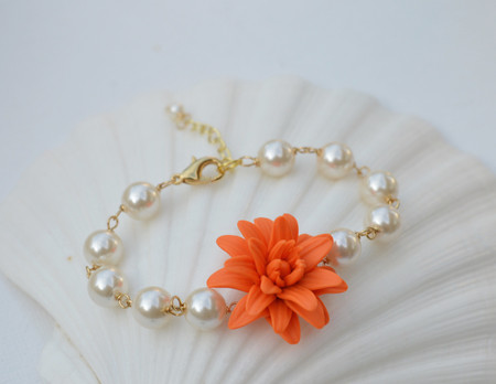 Andrea Link Bracelet in Orange Dahlia