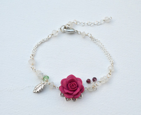 Limited Edition. Magenta Pink Rose Bracelet.