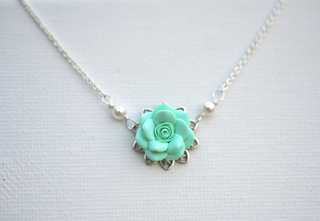 Bradley Delicate Drop Necklace in Mint Green Rose
