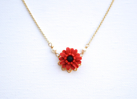 Bradley Delicate Drop Necklace in Red Gerbera Daisy