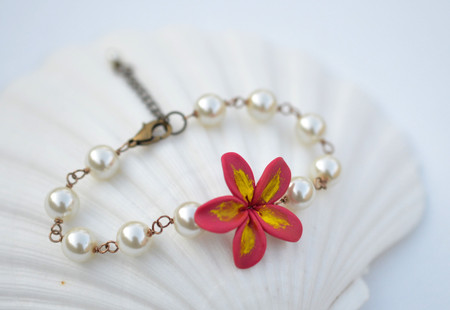 Andrea Link Bracelet in Deep Pink Yellow Plumeria/Frangipani
