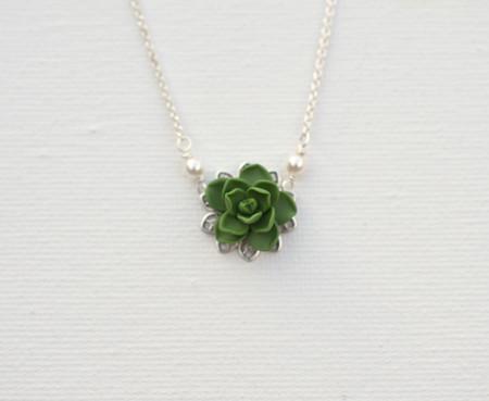 Bradley Delicate Drop Necklace in Fresh Green Succulent