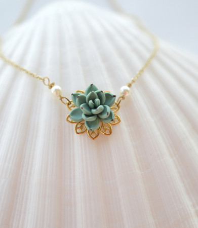 Bradley Delicate Drop Necklace in Dusty Mint Succulent