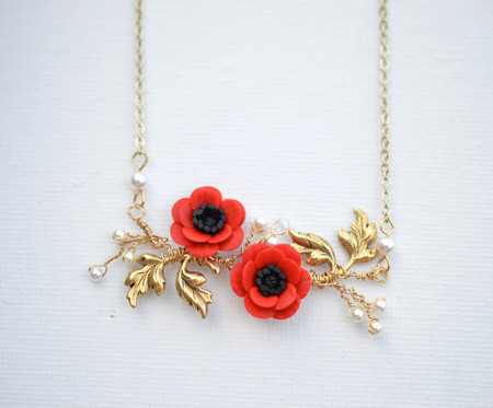 Belinda Vine Necklace in Red Poppy/Red Anemone