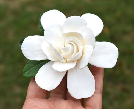 White Gardenia and Green Leaves Hair Clip