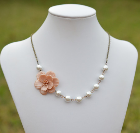 Elisa Asymmetrical Necklace in Nude/Beige Sakura Blossom. FREE EARRINGS