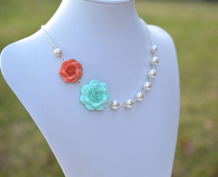 Celine Double Roses Asymmetrical Necklace in Coral and Mint. FREE EARRINGS