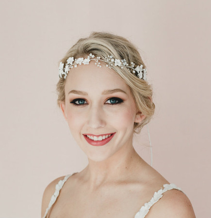 Monica Bridal Hair Vine in White Flower Blossom