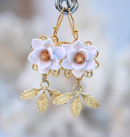 Kate Bridal Statement Earrings in White Magnolia and Brass Leaves