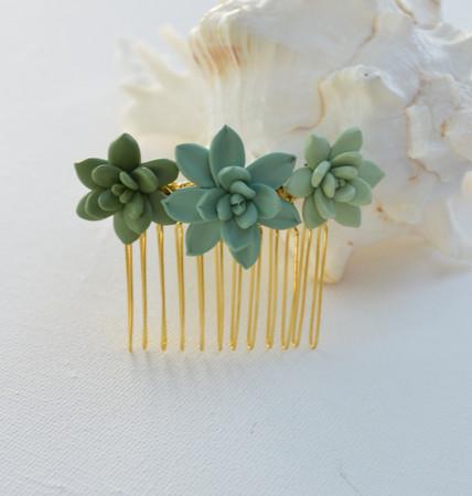 Trio Succulent Hair Comb.