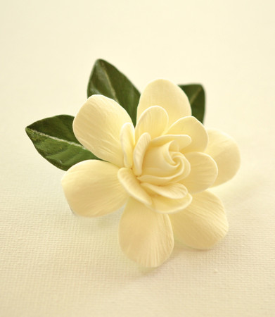 Ivory Gardenia and Green leaves Hair Clip