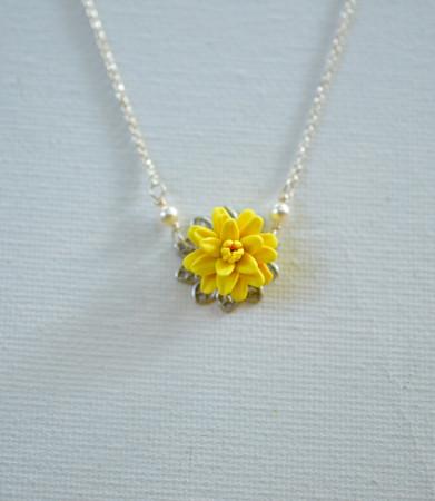 Bradley Delicate Drop Necklace in Sunshine Yellow Dahlia