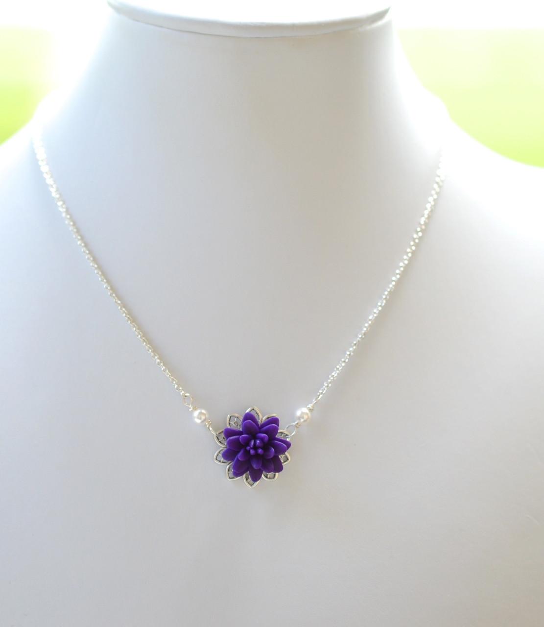 Bradley Delicate Drop Necklace In Deep Purple Dahlia Dahlia Jewelry Purple Dahlia Necklace Purple Flower Necklace
