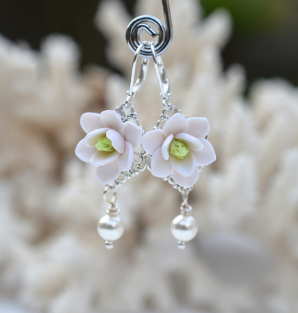Richelle Statement Earrings in White Magnolia With Pearls